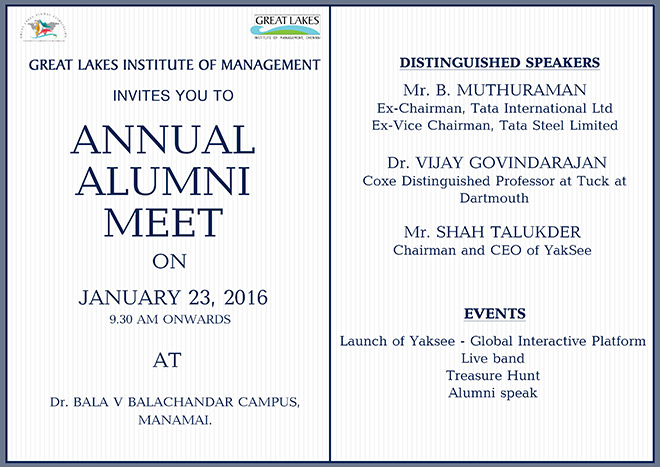 Invitation Great Lakes Alumni