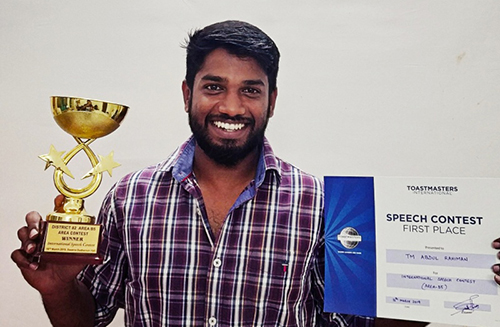 Winner of Area Level International Speech Contest conducted by Toastmasters International